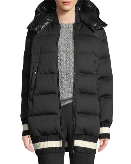 Moncler Harfang Puffer Coat w/ Contrast Hood