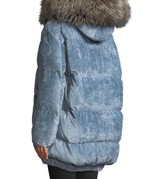 Mergule Corduroy Puffer Coat w/ Fur-Trim Hood