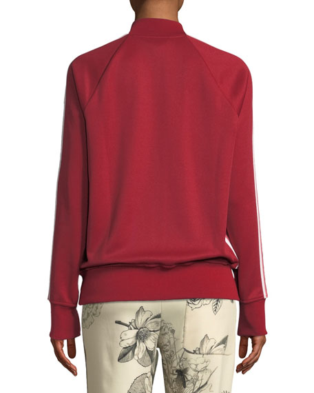 Side-Stripe Knit Bomber Jacket/Cardigan