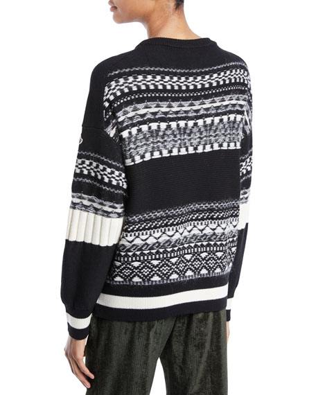 Fair Isle Knit Tricot Pullover Sweater
