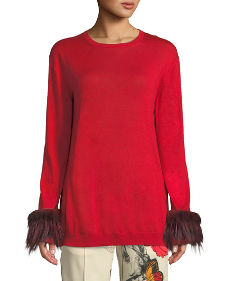 Crewneck Pullover Sweater w/ Fur Cuffs