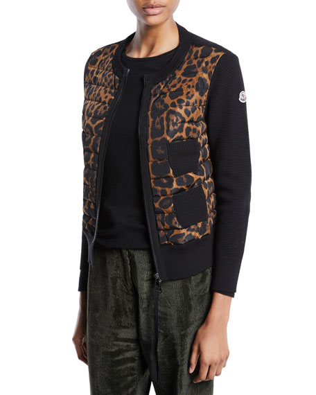 Moncler Alla Coreana Leopard-Print Zip Cardigan Sweater and