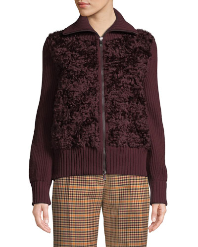 Wool Cardigan w/ Mohair Front