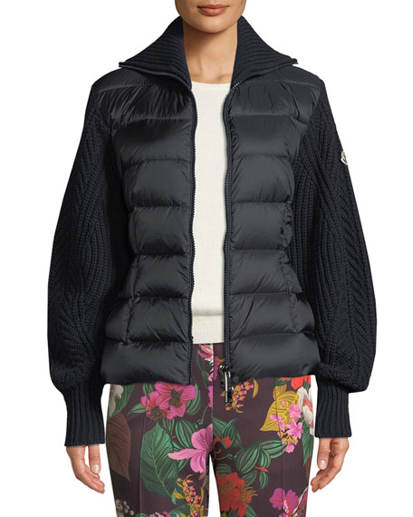 Mixed-Media Zip-Up  Puffer Cardigan