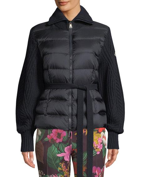 Moncler Mixed-Media Zip-Up Puffer Cardigan