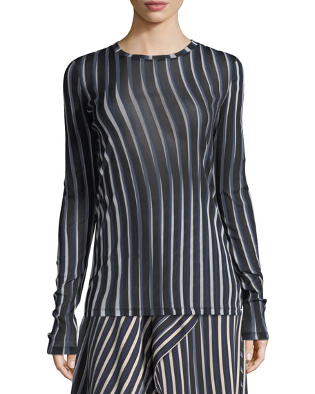 Wavy-Striped Semisheer Top