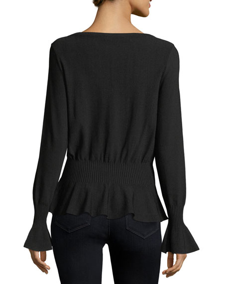 Pintuck V-Neck Knit Top