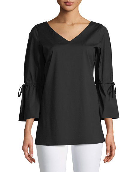 Lafayette 148 New York Riley Italian Stretch-Cotton Blouse
