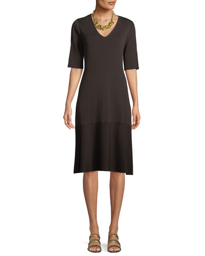 V-Neck Short-Sleeve Tencel® A-line Dress, Plus Size
