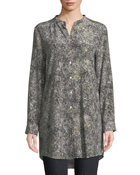 Willow-Print Mandarin-Collar Long Silk Shirt