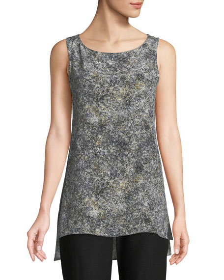 Eileen Fisher Willow-Print Bateau-Neck Shell Top