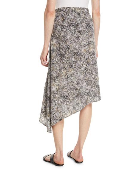 Asymmetric Willow-Print Silk Skirt