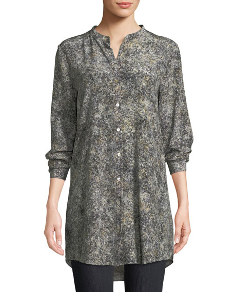 Eileen Fisher Willow-Print Mandarin-Collar Long Silk Shirt, Plus