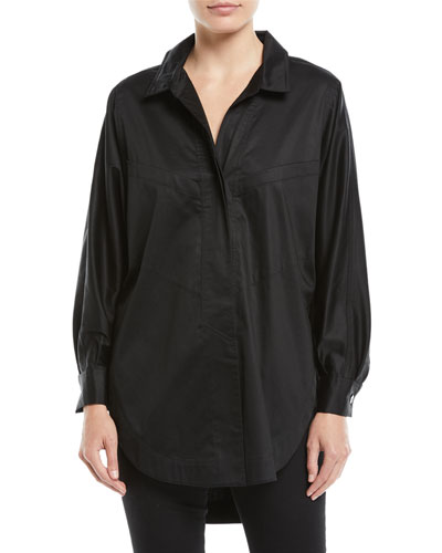 Long-Sleeve Button-Down Sateen Oversized Shirt