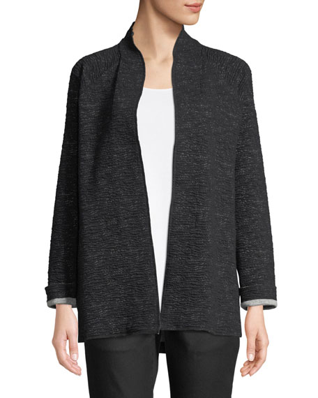 Eileen Fisher Ridged High-Collar Jacket