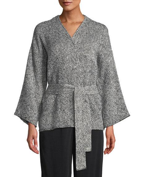 Bracelet-Sleeve Cotton Kimono Short Jacket, Petite