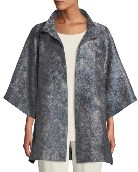Cosmos Jacquard 3/4-Sleeve Jacket, Plus Size