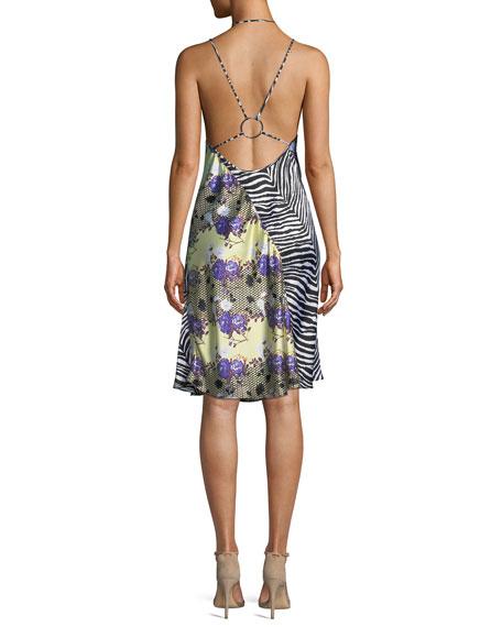 Sleeveless Floral Zebra Silk Dress
