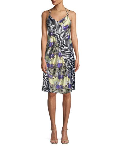 OPENING CEREMONY Embellished Printed Silk-Charmeuse Dress, Purple