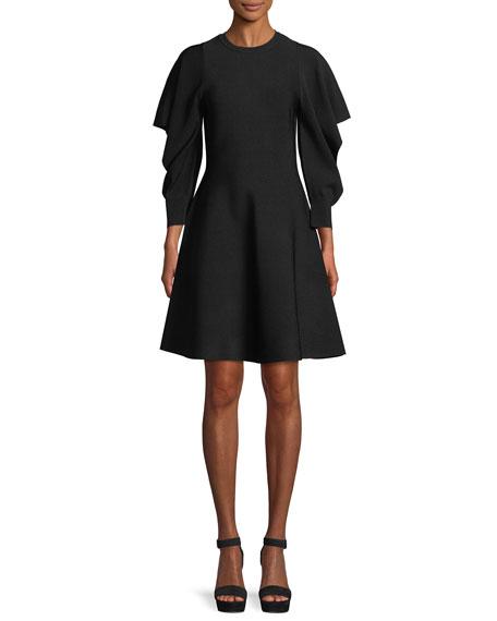 Flounce-Sleeve Crewneck Dress