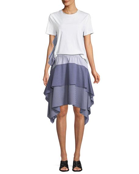Tiered Asymmetric Striped Skirt