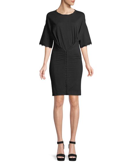 Hook-Front Short-Sleeve Tee Dress
