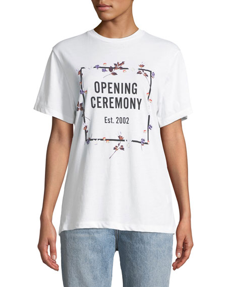Opening Ceremony Floral Logo Graphic Crewneck Tee
