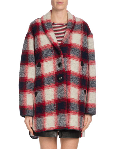 Gabrie Plaid Wool-Blend Coat