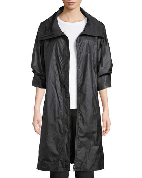 Coated Cotton Zip-Front Jacket