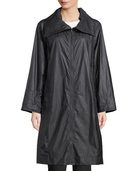 Coated Cotton Zip-Front Jacket, Plus Size