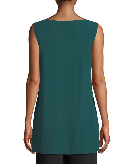 Silk Georgette Bateau-Neck Long Tank, Plus Size