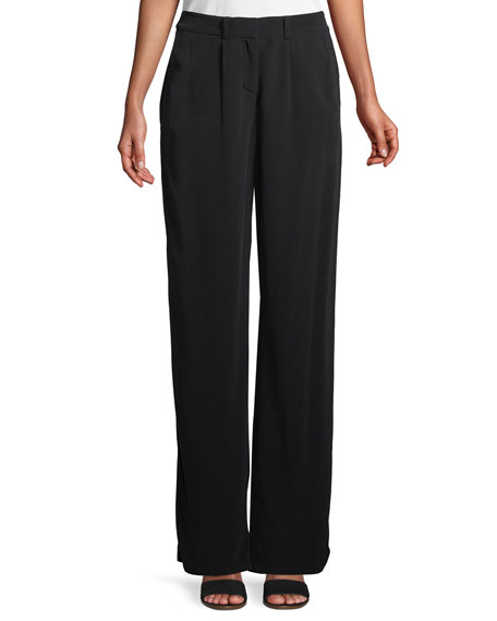 Eileen Fisher Viscose Crepe Straight-Leg Trousers, Petite