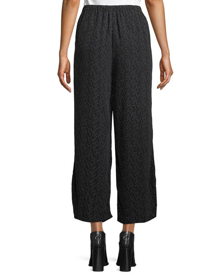 Morse Code Wide-Legs Cropped Pants, Petite
