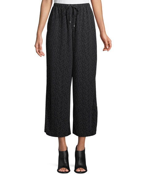 Eileen Fisher Morse Code Wide-Legs Cropped Pants, Petite