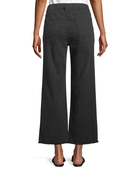Pull-On Denim Ankle Jeans w/ Raw Edges