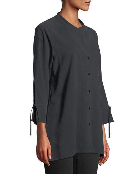 Fuji Silk 3/4-Sleeve Blouse, Plus Size