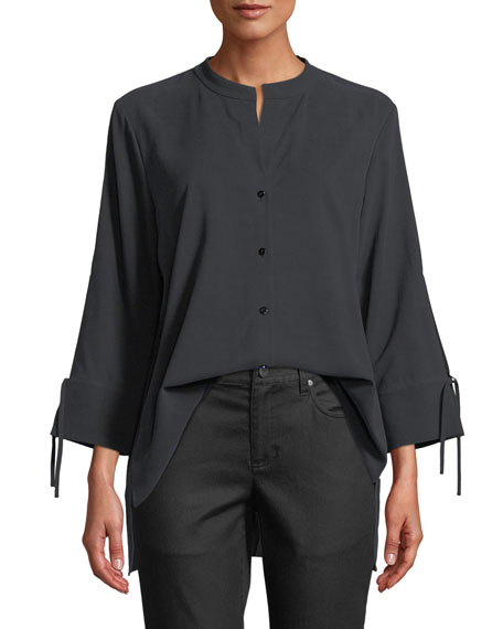 Eileen Fisher Fuji Silk 3/4-Sleeve Blouse, Plus Size