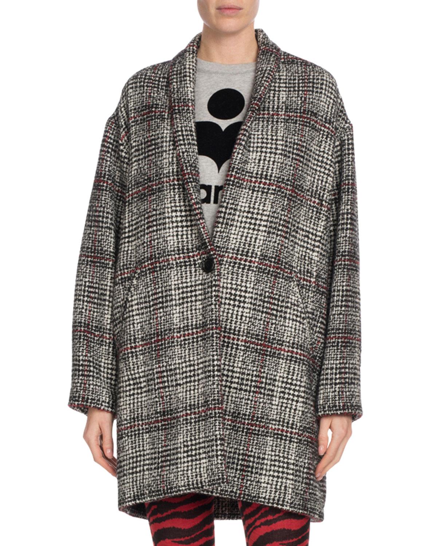Etoile Isabel Marant Eabrie Oversized Plaid Shawl-Collar Jacket ... 27ddf30cd13