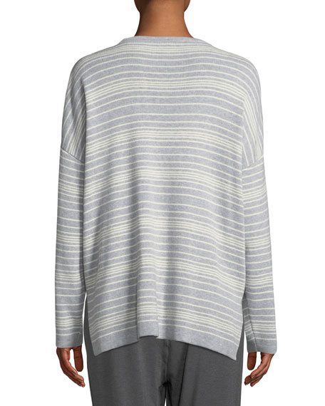 Long-Sleeve Striped Sweater, Petite