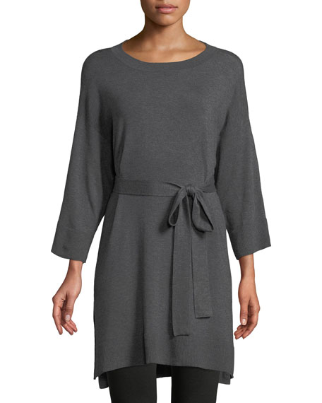 3/4-Sleeve Cozy Stretch Tencel Tunic w/ Belt, Petite