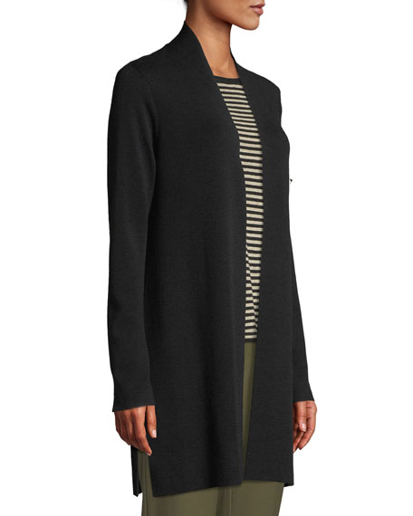 Ultrafine Merino Straight Long Cardigan, Plus Size