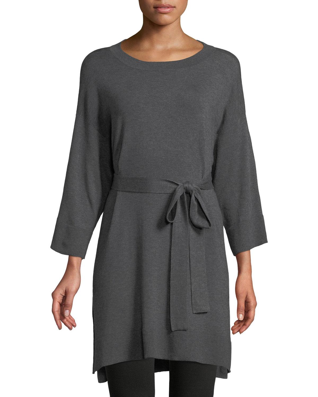 4536d7208f0 Eileen Fisher 3 4-Sleeve Cozy Stretch Tencel Tunic w  Belt