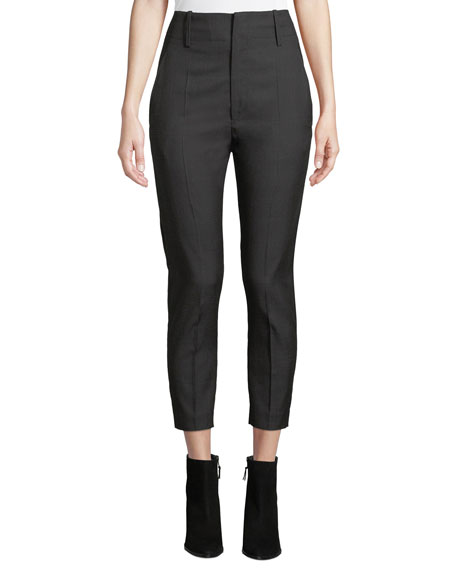 Etoile Isabel Marant Noah High-Rise Cropped Tonal-Check Trousers