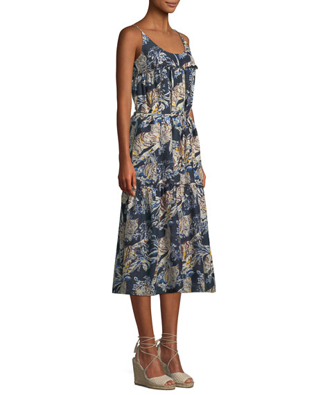 Jungle Print Cotton-Silk Midi Coverup Dress