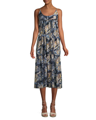 Jungle Print Cotton-Silk Midi Coverup Dress