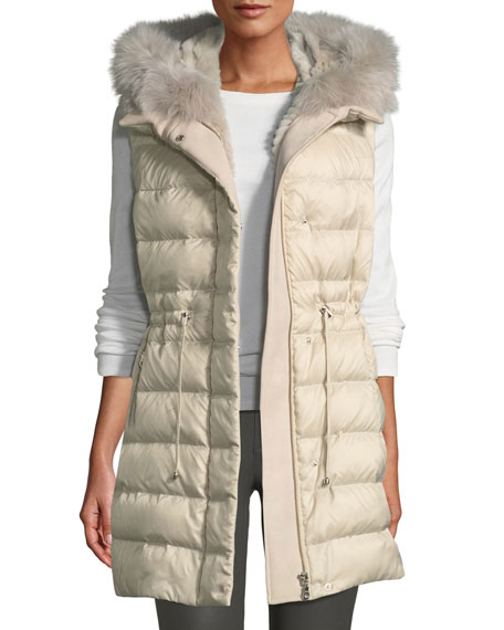 POLOGEORGIS Quilted Hooded Sport Puffer Vest W/ Fur Lining in Ivory