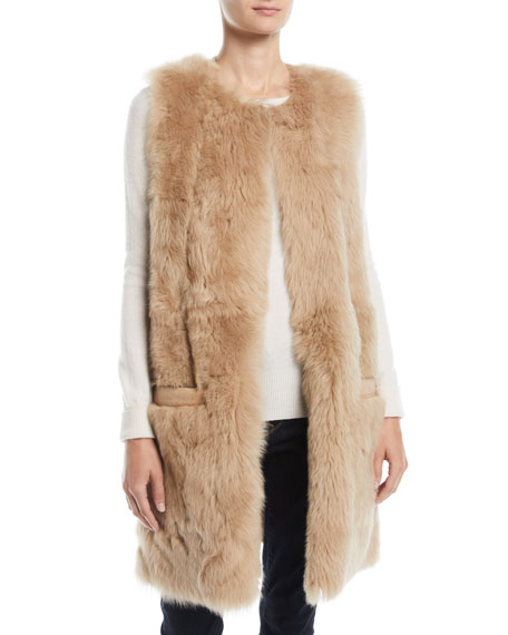 POLOGEORGIS Reversible Leather & Lamb Fur Vest in Camel