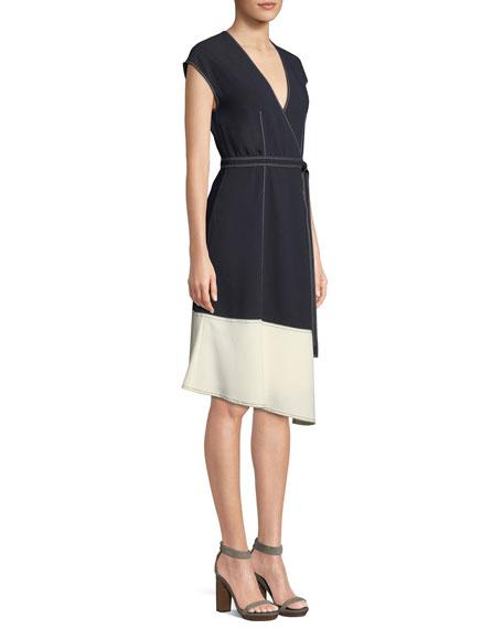 Mahesa Colorblock Cocktail Wrap Dress
