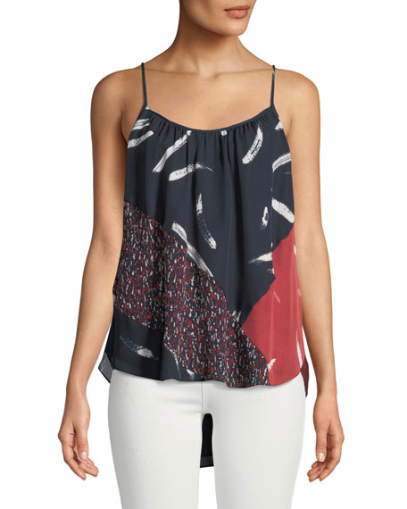Leniline Silk High-Low Tank Top, Blue Pattern