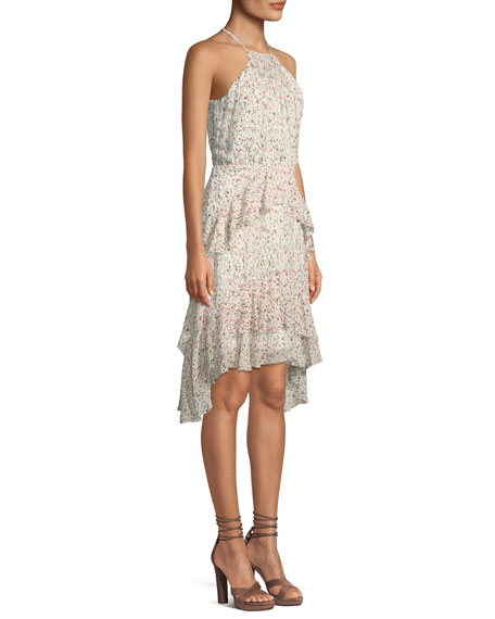 Lamberta Printed Silk Halter Dress